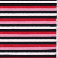 Pink/Navy/Red Stripe Cotton Rib Knit