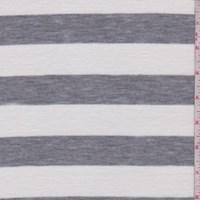 White/Heather Grey Stripe T-Shirt Knit