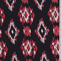 Black/Orange Ikat Diamond Nylon Knit