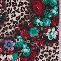 Mocha/Lilac Cheetah Floral Nylon Knit