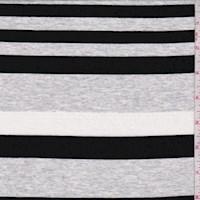 Heather Grey/Black Stripe Rayon Jersey Knit