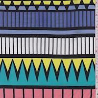 Violet Blue/Teal/Lime Geo Stripe Nylon Knit