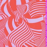 White/Bright Orange Zebra Wave Nylon Knit