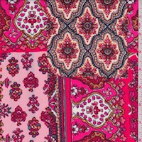 Deep Pink Moroccan Block Nylon Knit