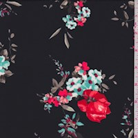 Black/Fire Red Rose Cluster Nylon Knit