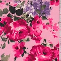 Creamy Pink Rose Bouquet Nylon Knit