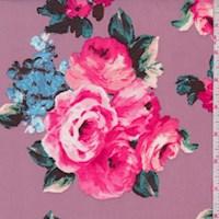 Mauve Rose Bouquet Nylon Knit