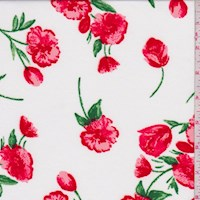 White/Red Tulip Print ITY Knit