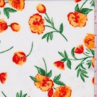 White/Apricot Tulip Print ITY Knit