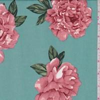 Aquamarine/Beige Peony ITY Knit