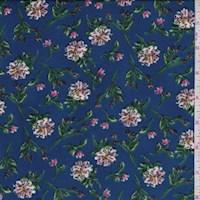 Electric Blue Floral Stem Nylon Knit