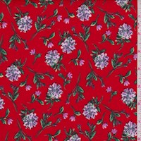 Red Floral Stem Nylon Knit