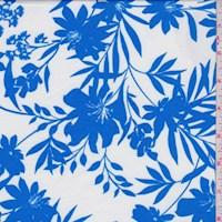 White/Blue Floral Nylon Knit