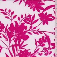 White/Magenta Floral Nylon Knit