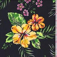 Black Hibiscus Nylon Knit
