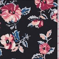 Black/Salmon Modern Floral ITY Knit