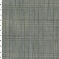 *4 1/8 YD PC--Black/Beige Tropical Wool Blend Plaid Shirting