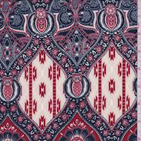 *3 1/8 YD PC--Berry Red/Navy Stylized Crepe de Chine