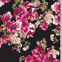 *3 3/4 YD PC--Black/Cranberry Rose Chain Poplin
