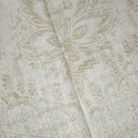 *1 1/4 YD PC -- Antique Beige/Gray/Multi Baroque Printed Slub Linen Decorating Fabric