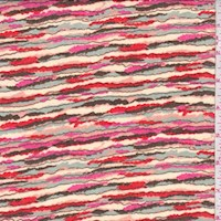 Beige/Hot Pink/Red Ragged Stripe Chiffon