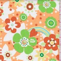 White/Lime/Orange Retro Floral Jersey Knit