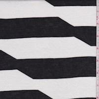 White/Black Geo Stripe Rayon Jersey Knit