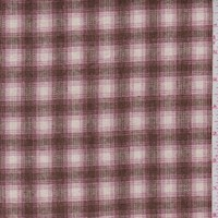 Mocha/Pink Plaid Wool Blend Plaid