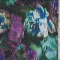 Forest/Purple Static Floral Jersey Knit