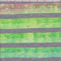 Fuchsia/Lime Tie Dye Stripe T-Shirt Knit