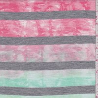 Mint/Coral Tie Dye Stripe T-Shirt Knit