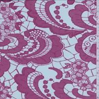 *2 5/8 YD PC--Whisper Blue/Berry Pink Lace Print Silk Jersey Knit