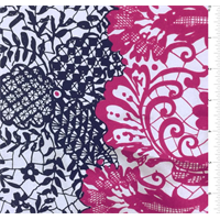 *4 1/8 YD PC--Soft Grey Lace Print Silk Crepe de Chine