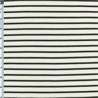 *2 YD PC--Cream/Black Bamboo Raised Ribbed Stripe