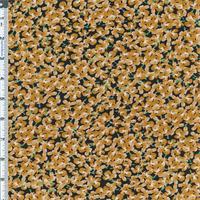 *6 1/2 YD PC--Gold/Black Little Floral Designer Rayon Crepe