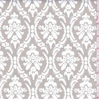 *2 YD PC--Soft Taupe Baroque Print Stretch Twill