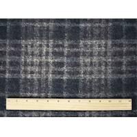 *3 1/4 YD PC--Black/Gray/Brown Wool Blend Plaid Knit Jacketing