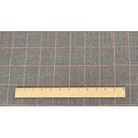*2 1/2 YD PC--Black/Gray/Orange Wool Blend Glen Plaid Brushed Suiting