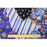*2 YD PC--Purple/Blue/Multi Abstract Floral/Stripe Printed Velvet Knit