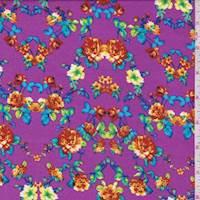*3 3/8 YD PC--Fuchsia Purple Multi Floral Challis
