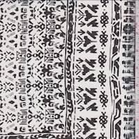 *4 1/2 YD PC--White/Black Inca Block Silk Chiffon