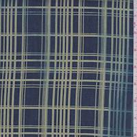 *6 YD PC--Dark Blue/Citron Plaid Denim