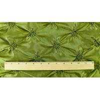 *2 YD PC--Deep Olive Green Iridescent Floral Embroidered Ruche Taffeta