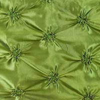 *4 1/2 YD PC--Deep Olive Green Iridescent Floral Embroidered Ruche Taffeta