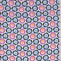 *5 YD PC--White/Orchid/Royal Floral Medallion Crepe