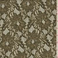 *3 YD PC--Metallic Gold/Black Floral Lace