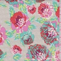 Stone Beige/Turquoise Multi Floral Print Challis