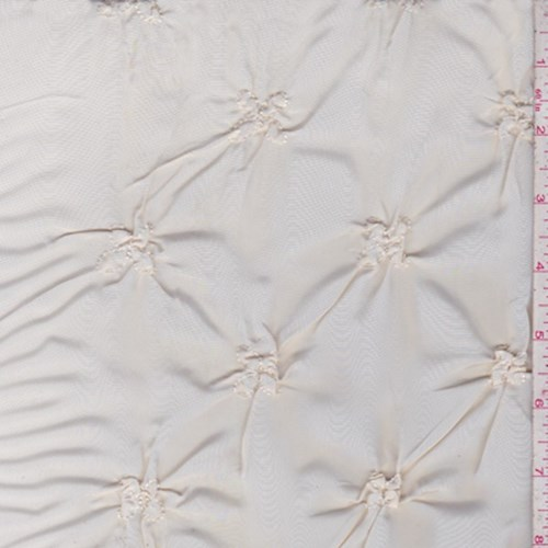 Fabric By The Yard Baby Pink Floral Embroidered Ruche Taffeta