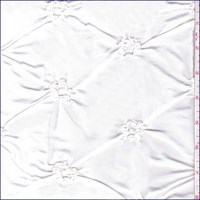 White Floral Embroidered Ruche Taffeta