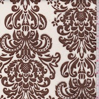 White/Brown Damask Print Minky